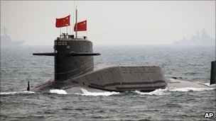 File image of a Chinese submarine during a fleet review on 23 April 2009