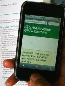 HMRC website viewed on a smart-phone