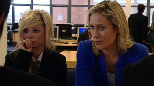 Panorama reporter Sophie Raworth chats to schoolchildren