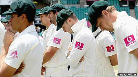 Australian players at the fifth Test presentatins