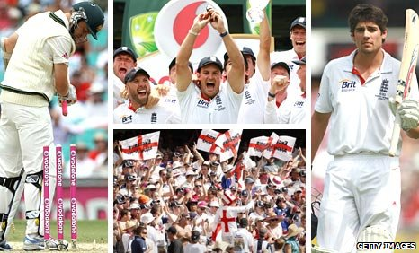 (Clockwise from left) Michael Beer, Engalnd celebrate with the Ashes urn, Alastair Cook and the Barmy Army