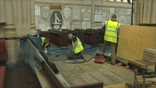 Archaeological dig taking place at Bath Abbey
