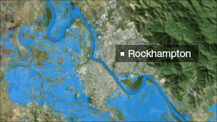 Satellite images showing floods in Rockhampton, Queensland