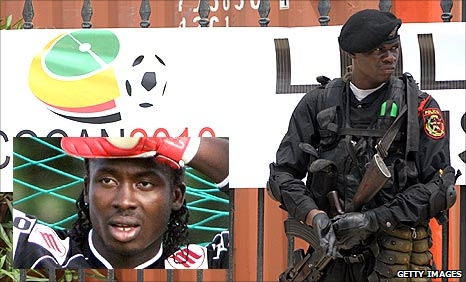 Kodjovi Obilale (inset) and an Angolan guard at the 2010 Africa Cup of Nations