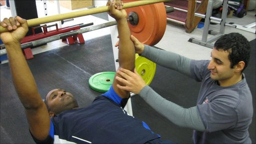 2012 Paralympic powerlifter Ali Jawad showing Dekan how it should be done