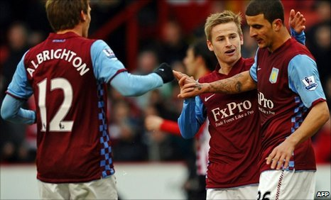 Kyle Walker (r) gave Villa the lead