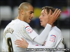 Goalscorers Darren Pratley and Cedric van der Gun celebrate