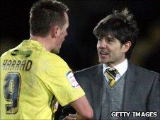 Burton striker Shaun Harrad and manager Paul Peschisolido
