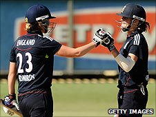 Charlotte Edwards (left) and Lydia Greenway celebrate the victory