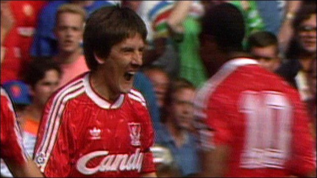 Peter Beardsley celebrates with John Barnes