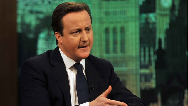 Prime Minister David Cameron on The Andrew Marr Show.