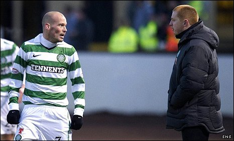Freddie Ljungberg and Celtic manager Neil Lennon