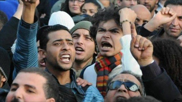 Protesters in Tunisia