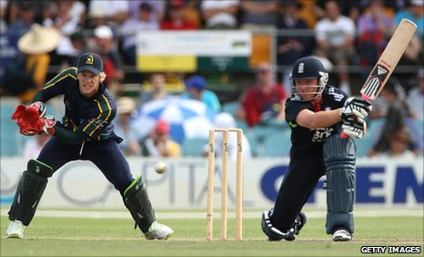 Ian Bell (right) hits out in Canberra