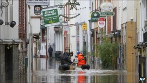 Flooded streets in Zell, southern Germany (10 Jan 2011)