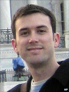 In this January 2009 photo provided by the office of Gabrielle Giffords, aide Gabe Zimmerman is seen in front of the US Capitol in Washington