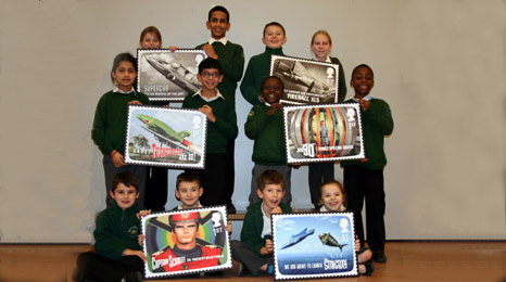 Children from the Slough schools with their stamps