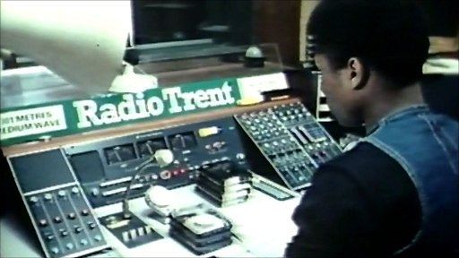 Archive footage inside the Radio Trent studios in the 1970s
