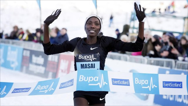 Linet Masai wins the women's 6k race at the Great Edinburgh Cross Country run