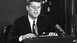 US President John F Kennedy addresses the nation over the Cuban missile crisis