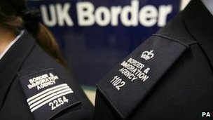 UKBA staff at an airport