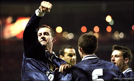 Scotland's Don Hutchinson celebrates his winner in 1999