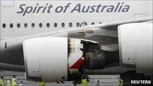 Damaged engine of Qantas A380