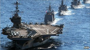 US aircraft carrier USS George Washington, in the Sea of Japan on 10 December 2010