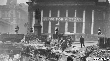 The aftermath of the Bank Tube bombing in January 1941