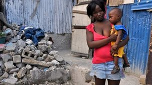 Fabula and her son in Port-au-Prince, Haiti