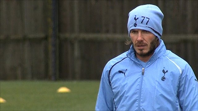 David Beckham trains with Tottenham