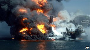 Fire boats battle a fire at the off shore oil rig Deepwater Horizon April 22, 2010