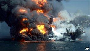 Fire boats battle a fire at the off shore oil rig Deepwater Horizon April 22, 2010