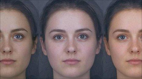 The face in the middle shows the woman's natural colour. The face on the left shows the effect of sun tanning, while the face on the right shows the effect of eating more carotenoids. Image courtesy of Dr Ian Stephens