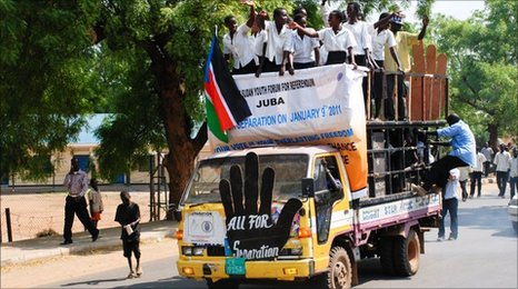 Sudan referendum: Separation supporters in Juba, Southern Sudan
