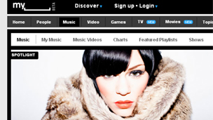 MySpace's music homepage