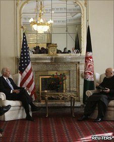 Joe Biden (left) and Hamid Karzai