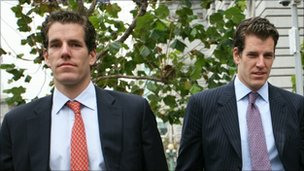 Cameron (L) and Tyler (R) Winklevoss, outside the court 11 Jan 2011