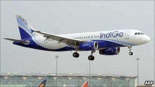 An Indigo Airbus A320 about to land