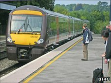 Train stops at Chepstow station