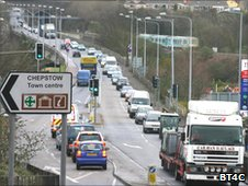 Traffic on the A48 in Chepstow