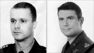 Captain Arkadiusz Protasiuk (left), pilot of the doomed Polish airliner, and his co-pilot, Major Robert Grzywna (images: Polish defence ministry)