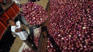 Farmer at onion market