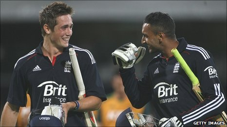 Chris Woakes and Ajmal Shahzad celebrate victory
