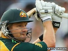 Shane Watson's bat breaks as he drives Tim Bresnan