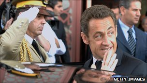 French President Nicholas Sarkozy (right) at a 2008 conference with the Turkish Prime Minister and other Middle Eastern leaders in Damascas