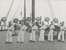 Boys aboard the HMS Clio