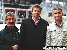 Left to right: Eddie Jordan, Jake Humphrey and David Coulthard