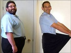 IT manager Simon Reynolds, from Nottingham, before and after he halved his body weight