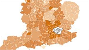 Map showing GCSE attainment around England